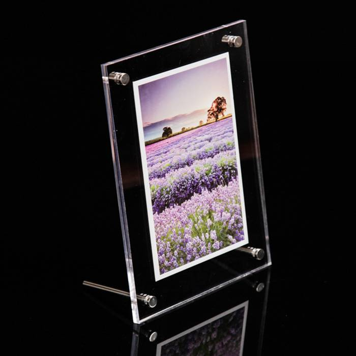 Effacer le bureau Frameless acrylique Cadre photo avec Standoff