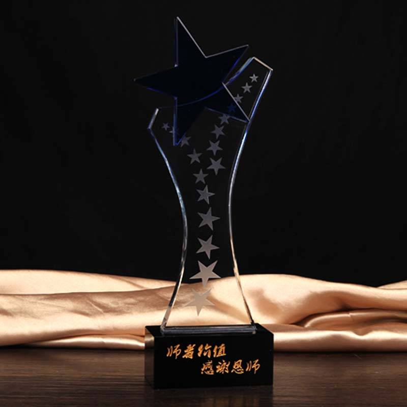 Clear Shinning Star Crystal Plaque Award XH0090