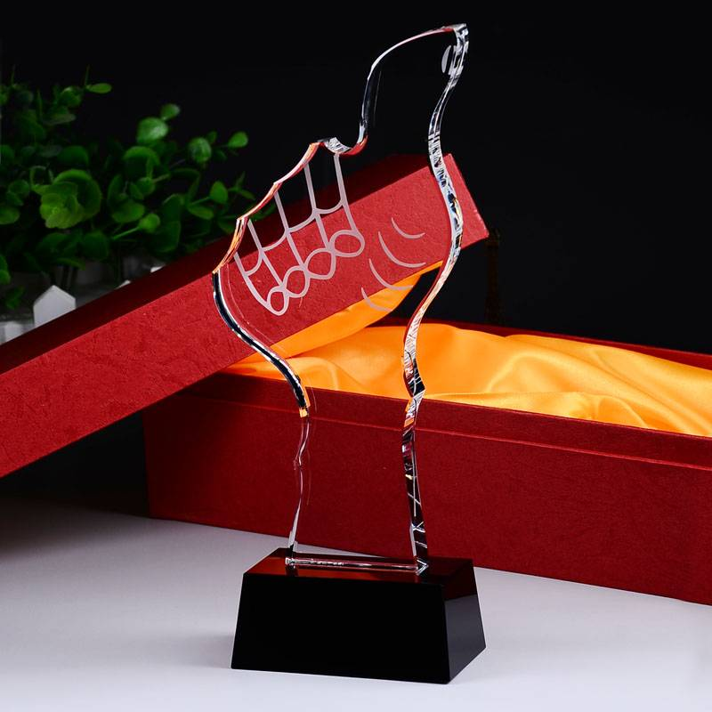 Thumb Shape Crystal Award Trophy with Thick Black Crystal Base XH0091
