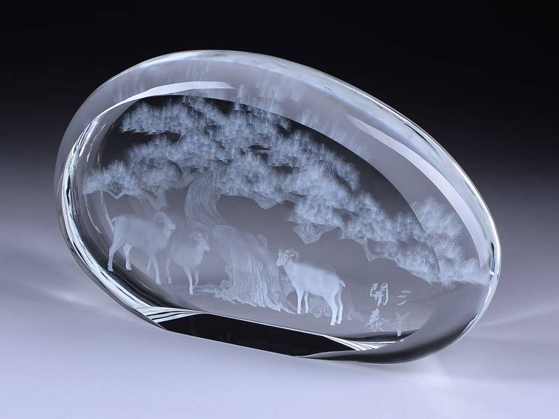 Super Clear Crystal Ice Cube with Lasered 3D Image Inside for Company Gifts XH0096