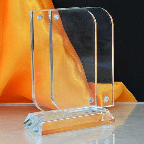 T en forme clair Cadres acrylique Porte d'affichage avec support vertical