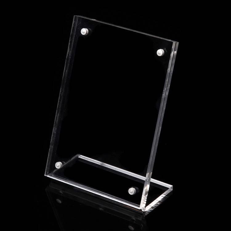 L-formet Tabel Magnetisk Klar akryl Menu Sign Card Stand