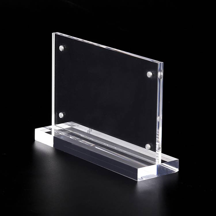 Desktop Acrylic Sign Handhafar T-laga Table Tents með segull girðing XH0024