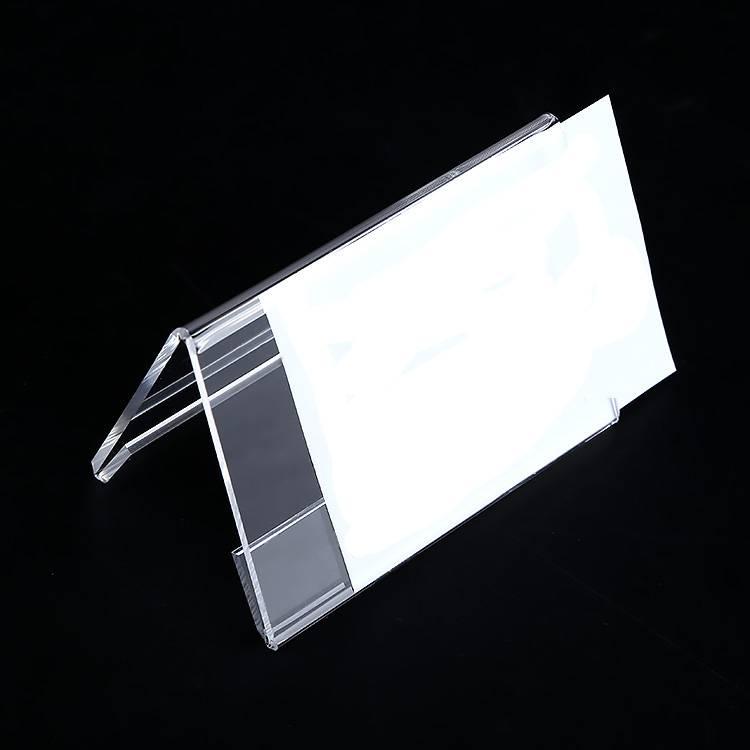 Klar akryl Table Top Dobbelt-sidet Display Name Visitkort Label Stand